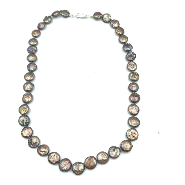Sterling Silver with Brown Freshwater Coin Pearl Necklace