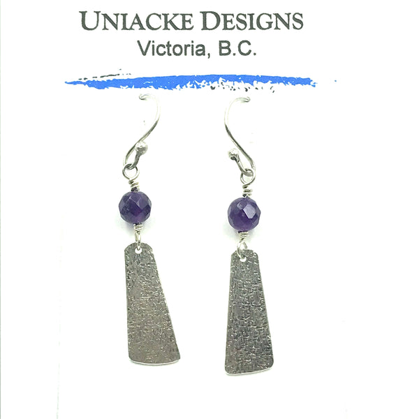 Sterling Silver with Amethyst Vertical Earrings