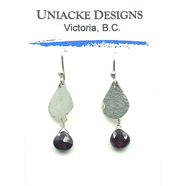 Sterling Silver with Garnet Small Teardrop Earrings