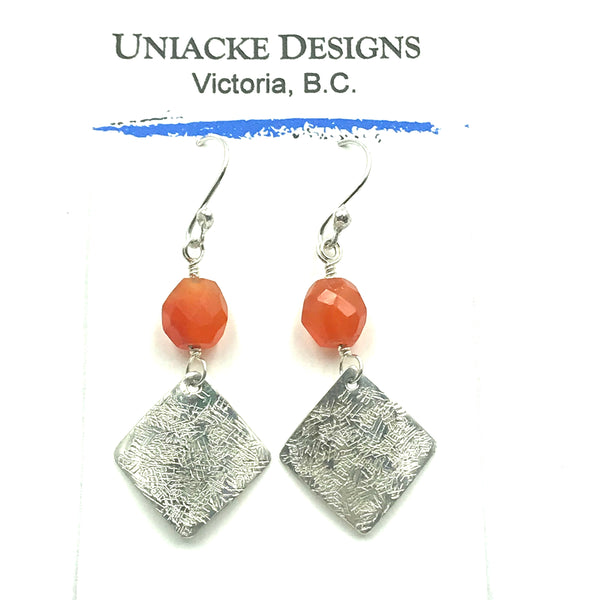 Sterling Silver with Carnelian Diamond Earrings