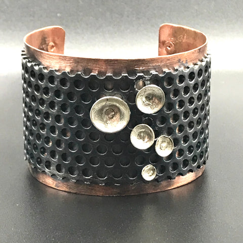 Copper and Stainless Cuff with Silver Disc Design