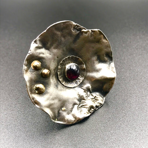 Large Circle Sterling Silver Ring with Garnet