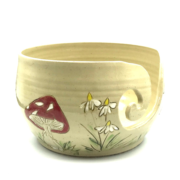Ceramic Yarn Bowl with Red and White Mushrooms