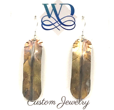 Sterling Silver Patina Feather Earrings
