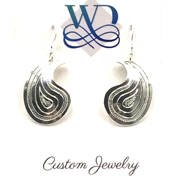 Sterling Silver Paisley Design Earrings