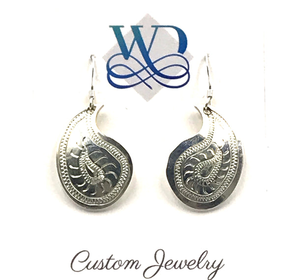 Sterling Silver Paisley Design with Lines Earrings