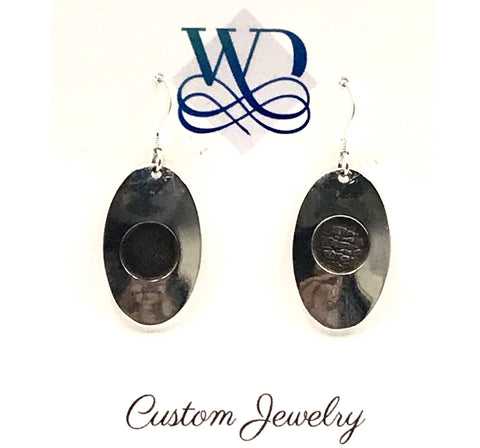 Sterling Silver Oval with Patina Circle Earrings