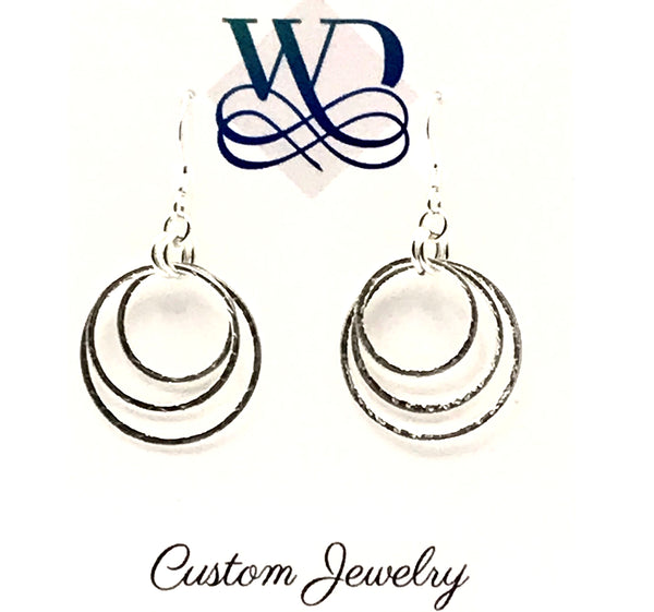 Sterling Silver Triple Rings Earrings