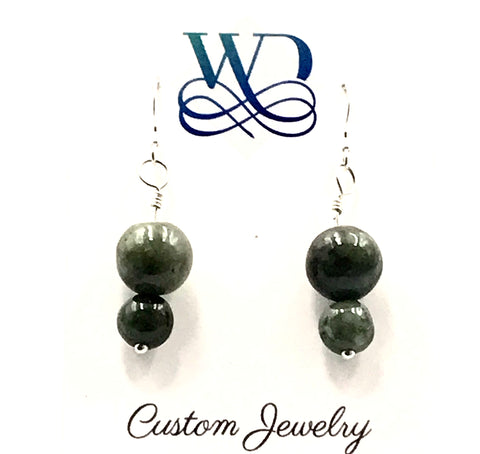 Sterling Silver and Double Green Jade Bead Earrings