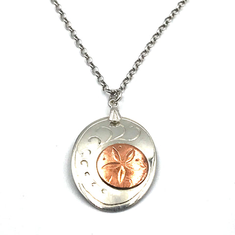Sterling Silver Pendant with Copper Sand Dollar Design Necklace