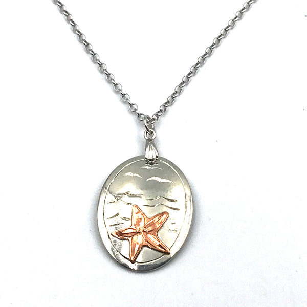 Sterling Silver Pendant with Copper Starfish Design Necklace