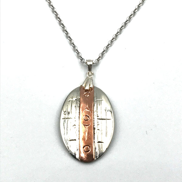 Sterling Silver Pendant with Copper Strip Design Necklace