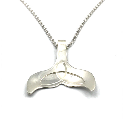 Sterling Silver Pendant Whale Tail Design Necklace
