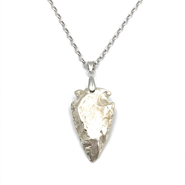 Sterling Silver Pendant Cast Arrowhead Design Necklace
