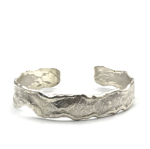 Reticulated Sterling Silver Design Cuff Bracelet