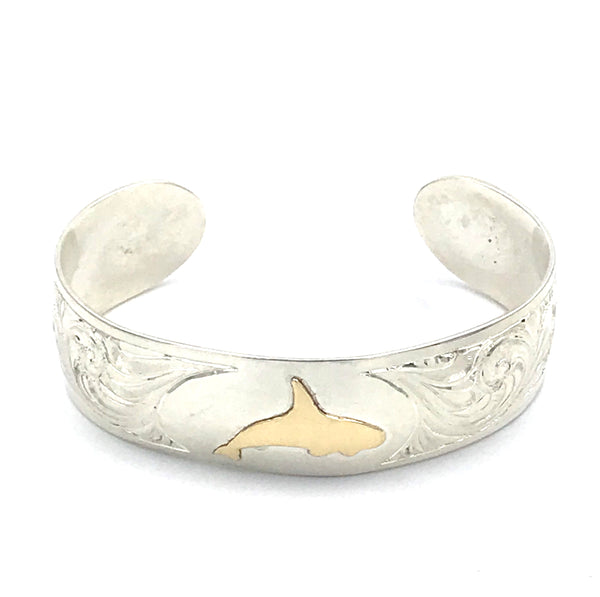 Sterling Silver Engraved with 10ct. Gold Orca Design Cuff Bracelet