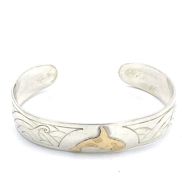 Sterling Silver Wave with 10ct. Gold Orca Design Cuff Bracelet