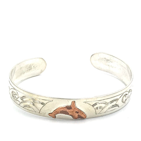 Sterling Silver with Wave and Copper Orca Design Cuff Bracelet