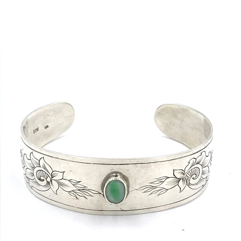 Sterling Silver with Jade Cabochon and Engraved Design Cuff Bracelet