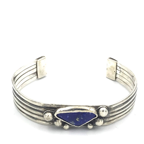 Sterling Silver with Lapis and Five Bar Design Cuff Bracelet