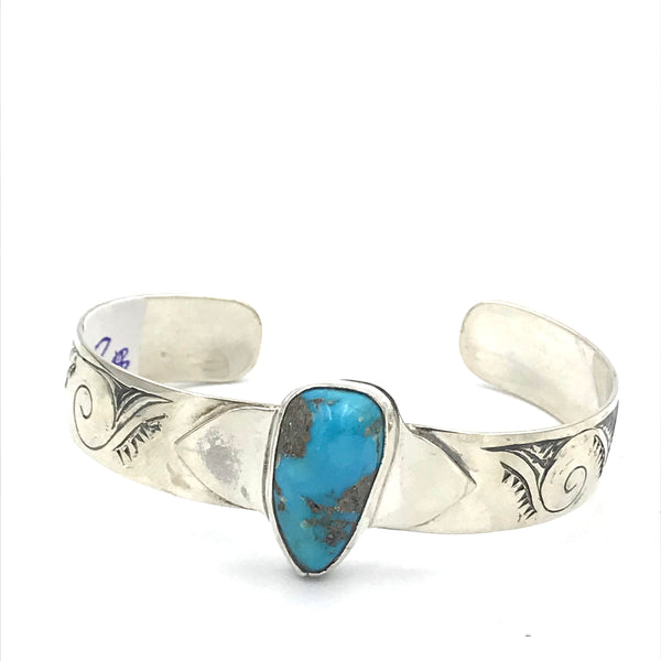 Sterling Silver with Turquoise and Wave Design Cuff Bracelet
