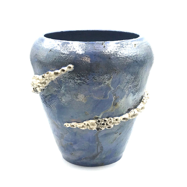 Raku Medium Barnacle pot in Periwinkle Blue