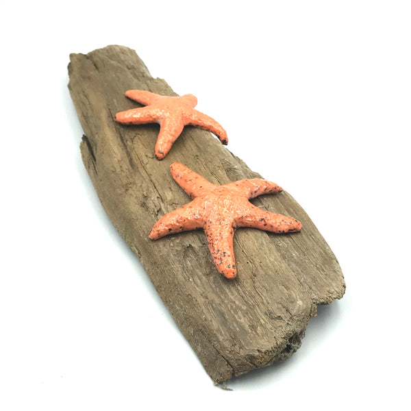 Two Orange Raku Sea Stars on Driftwood Wall Hanging