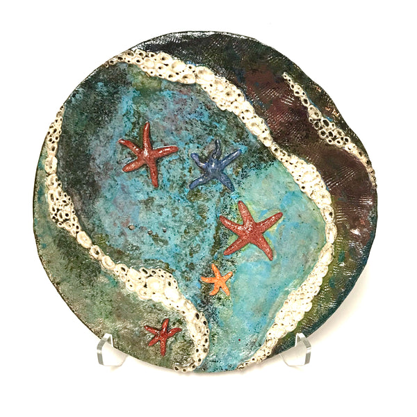 Decorative Tide pool platter with Five Sea Stars and Barnacles