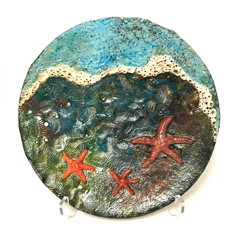 Decorative Tide pool platter with Three Sea Stars and Barnacles