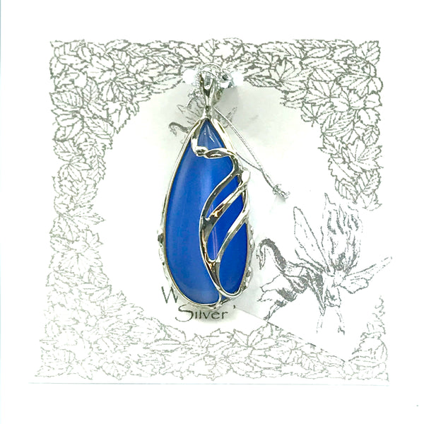 Blue Glass Stone with Freeform Design Pendant Necklace