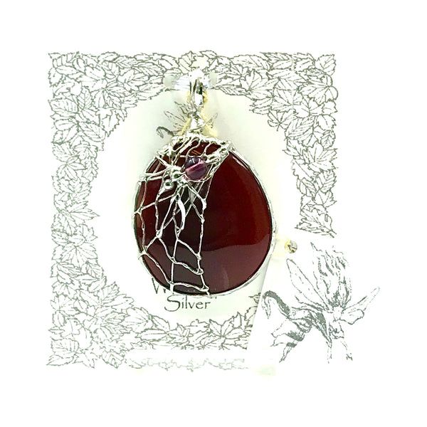 Carnelian Stone with Spider Design Pendant Necklace