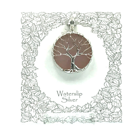 Rose Quartz with Tree of Life Pendant Necklace