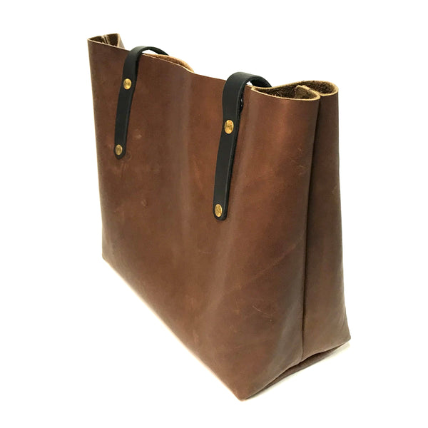 Danielle Tote, Brown Leather with Black Straps