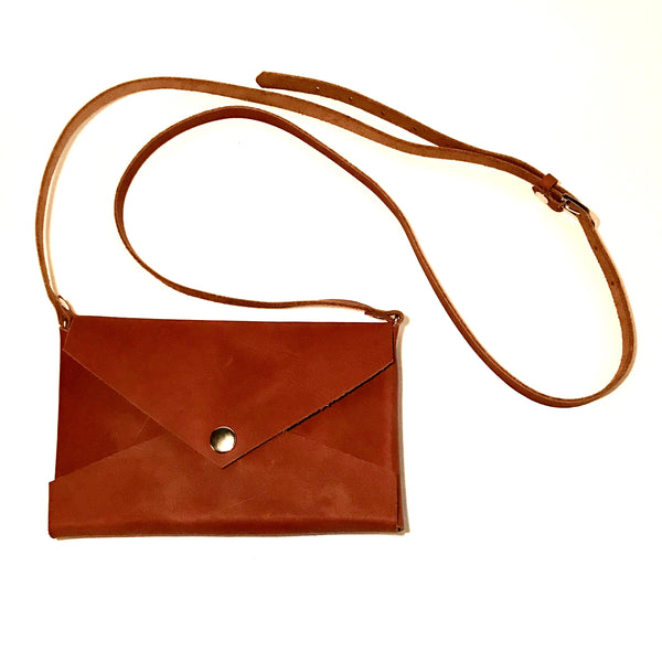 Cross Body Purse, Blonde Leather with Nickle Snaps