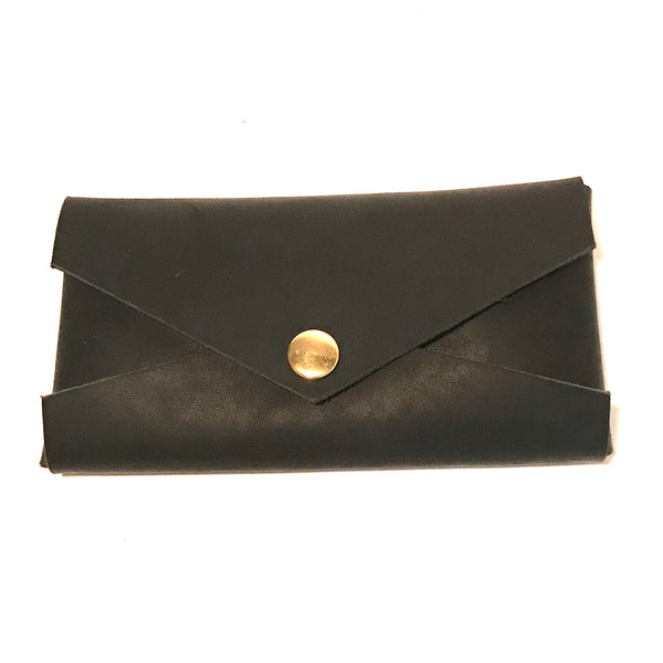 Clutch Purse, Black Leather with Gold Snaps