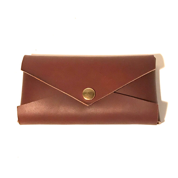 Clutch Purse, Brown Leather with Gold Snaps