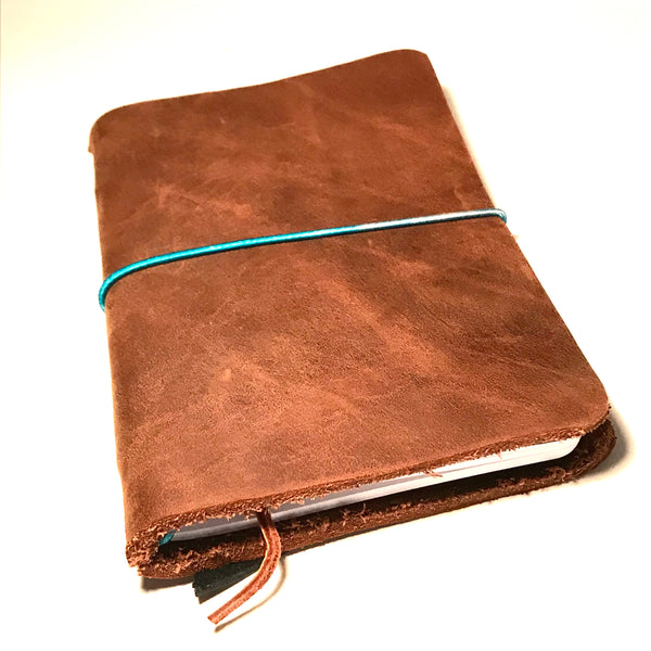 Small Leather Notebook Brown with Blue Cord