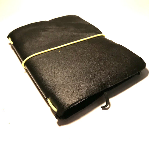Small Leather Notebook Black with Yellow Cord