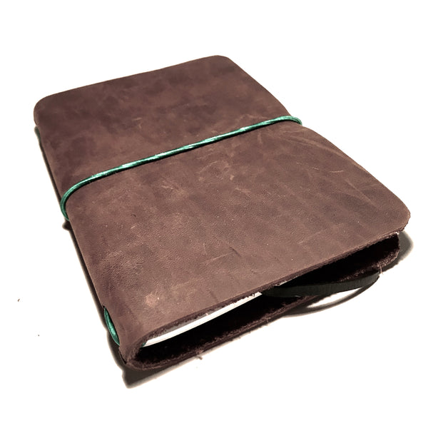 Small Leather Notebook Brown with Green Cord