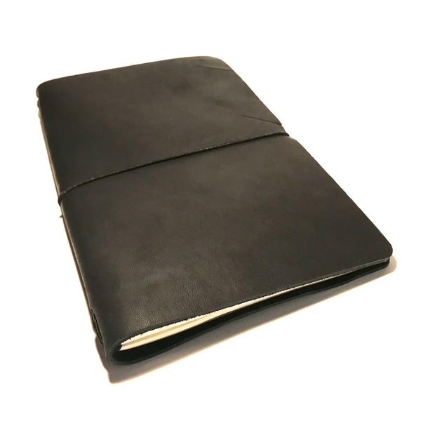 Medium Leather Notebook Black with Black Cord