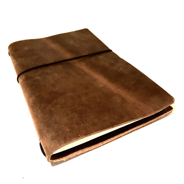 Medium Leather Notebook, Matte Brown