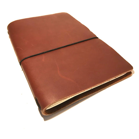 Medium Leather Notebook, Red Brown
