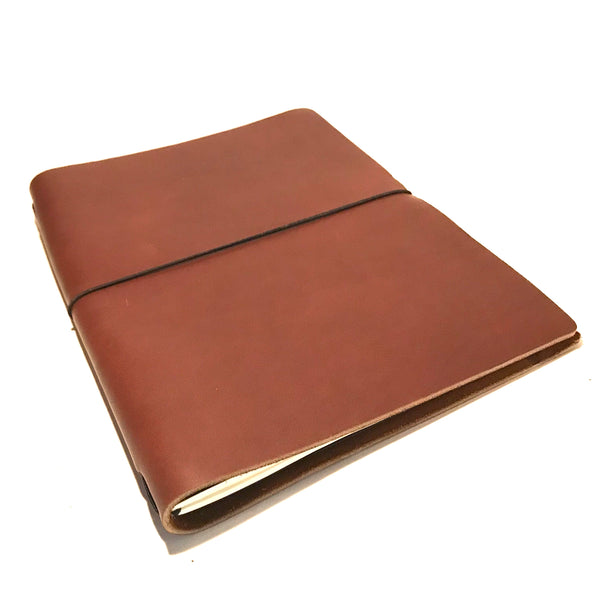 Large Leather Notebook, Red Brown