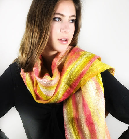 Felt Shawl, Gold and Pink Shades