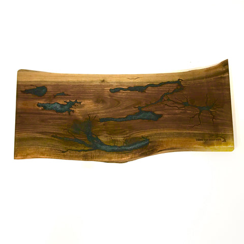 Walnut Spalted Charcuterie Board with Blue Resin