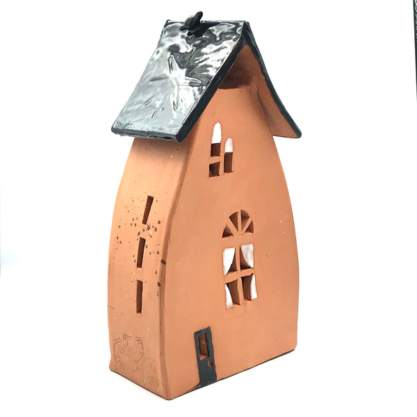 Ceramic House Lantern in Terra Cotta
