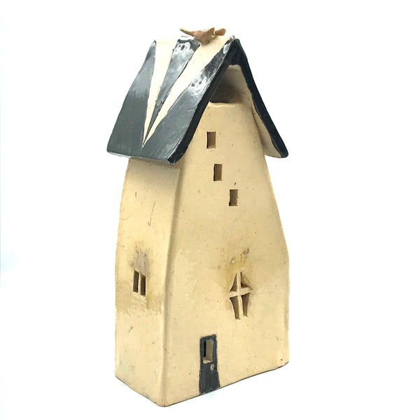 Ceramic House Lantern in Raku Off White
