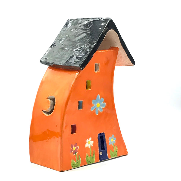 Ceramic House Lantern in Bright Orange with Flowers