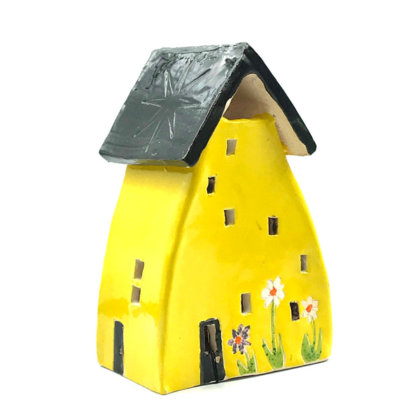 Ceramic House Lantern in Yellow with Flowers