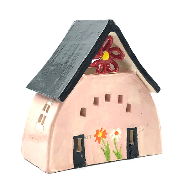Ceramic House Lantern in Pink with Flowers